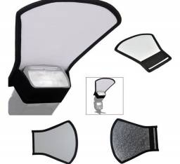 Difusor Rebatedor Universal Para Flash 2 Lados Branco/prata
