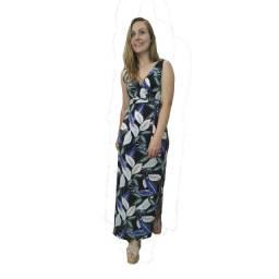 Vestido Longo Estampado Feminino Com Fenda Lateral Cd190
