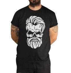 Camisa Camiseta Caveira Estilosa, Estilo Barbearia