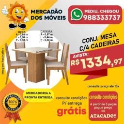 Mesa Tampo de Vidro 4 Cadeiras Em Até 10x Nos Cartões - Entrega e Montagem Grátis