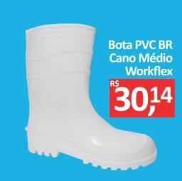 Bota PVC Branca Cano Médio - Workflex - Promoção R$ 30,14