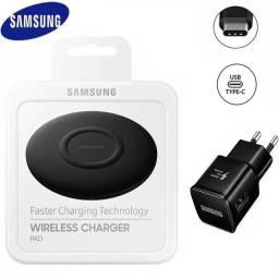 Kit Turbo Adaptador + Cabo tipo C e Carregador Wireless QI  Turbo Samsung iPhone Xiaomi