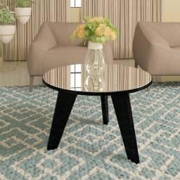 Mesa de centro redonda com espelho modelo espanha cor preto