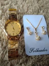 Ki relógios FEMININO+jóias folhado