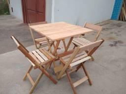 Jogo mesa + cadeira em madeira - Nova