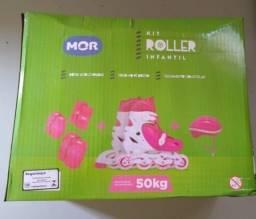 Kit Roller Infantil Patins Capacete Luvas Joelheira Cotov 30-33 Mor Produto novo