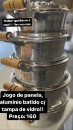 Título do anúncio: Panela de alumínio batido tampa de vidro