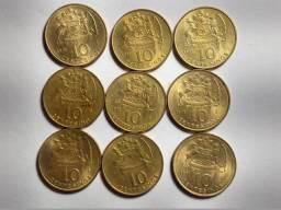 9 Moedas 10 Centésimos 1971 - Chile América - Linda 17 Mm