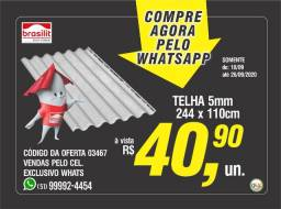 Telha Brasilit - 5mm x 110 x 244cm - Oferta Imperdível!!!