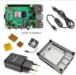 Raspberry pi 4b 2gb + cabo hdmi + fonte + micro sd 256gb + case.