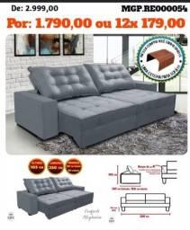 Sofa Retratil e Reclinavel 2,50 em Veludo e Molas- Sofa Grande- Sofa Barato- Feirão MS