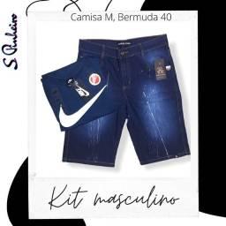 KIT MASCULINO TOP DE LINHA Bermuda Jeans e Camisa. Entrega Grátis em Anaindeua