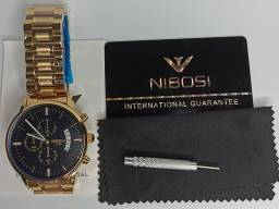 Relogio masculino dourado nibosi 2309