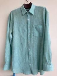 Camisa social verde riscado azul tam G