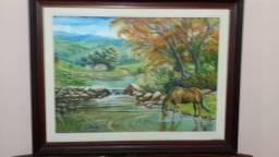 Linda pintura a oleo(paisagem rural cavalo bebendo água em um rio)