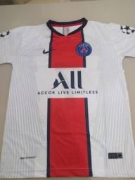 Camisa PSG temporada 20/21 tradicional, branca, e preta