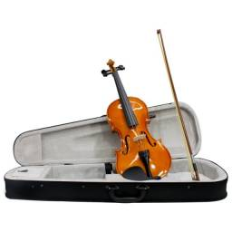 Violino Tamanho 4/4 Arco Madeira com Breu Cavalete Estojo Luxo (NOVO)