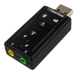 Placa de som/adaptador usb 7.1 fone e microfone