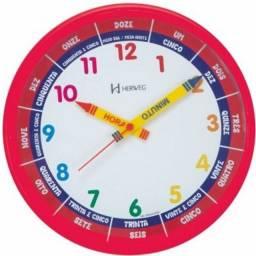 Relógio de Parede Educativo Crianças Aprendizado Horas Cores