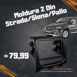 Moldura Painel Dvd Central Multimídia 2din Pálio Preta