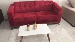 Sofá retrô damasco vermelho