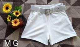 Short branco com cinto M/G