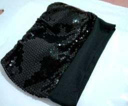 Cropped top faixa preto com strass