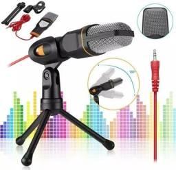 Microfone Condensador Para Gravação No Pc Com Cabo E Tripe<br><br><br>