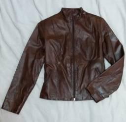 Casaco de couro marrom