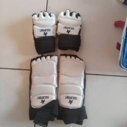 Protetor de pé (bota meia)+ luvas meio dedo para artes marciais