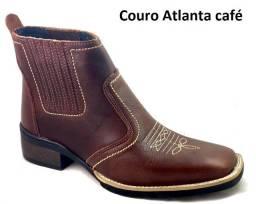 bota country texana botina bico quadrado couro legitimo solado todo costurado