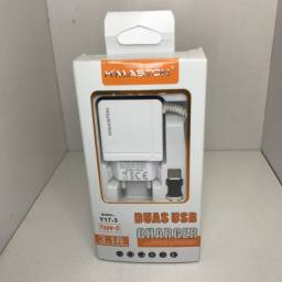 Carregador Turbo 3.1A TYPE-C<br>2 portas USB?
