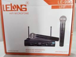 Microfone profissional sem fio com alcance de até 60 metros