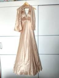 Vestido Longo Festa Dourado