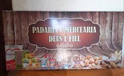 VENDO PLACA DE FACHADA JA COM O NOME PADARIA E MERCEARIA R$200