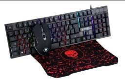 Kit Gamer Teclado E Mouse 6 Botões Com Led E Mouse Pad