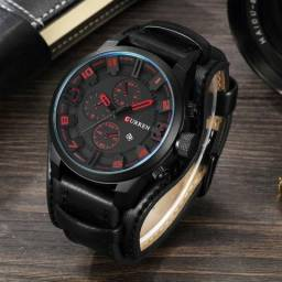 Curren Relógio Quartzo Casual De Homens, original pulseira de couro  legitimo Top de linha b739ed726c