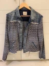 Jaqueta jeans com tweed
