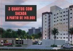 Apartamento 3 quartos com sacada, 149 mil, documentação grátis