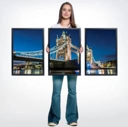 Conjunto de 3 quadros vidro madeira