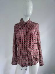 Camisa estampada ann taylor feminina manga longa tamanho g USA size 10