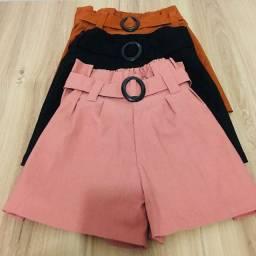 Shorts Feminino Bengaline Cintura Alta