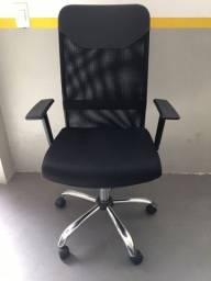 Título do anúncio: Cadeira Presidente Tela Mesh Preta Base Cromada Semi nova