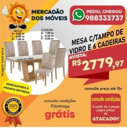 Mesa Com Tampo de Vidro 6 Cadeiras Em Até 10x Nos Cartões - Entrega e Montagem Grátis