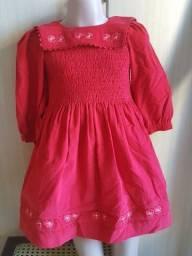 Vestido infantil veludo vermelho