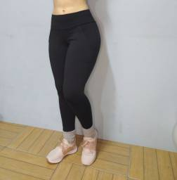 Legging Com Bolso Preta Cós Alto Super Confortável