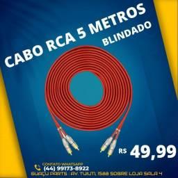 Cabo Rca 5 Metros Dupla Blindagem Cobre 5m Blindado Azul 5mm