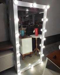 Espelho Luxo Moldura Camarim MDF Laqueado Corpo Inteiro 16 Bocais