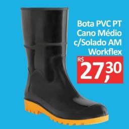Bota PVC Preta Cano Médio c/solado amarelo - Workflex - Promoção R$ 27,30