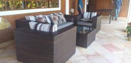 Conjunto de sofá campo largo em fibra sintética